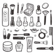 Hand drawn collection of cosmetics illustration - 75636579