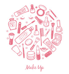 Hand drawn beauty and cosmetics items set.
