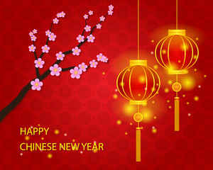 Happy Chinese New Year with Lamp Background