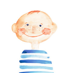 boy in the striped t-shirt. watercolor illustration