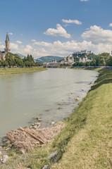 Salzach river on its way through Salzburg, Austria