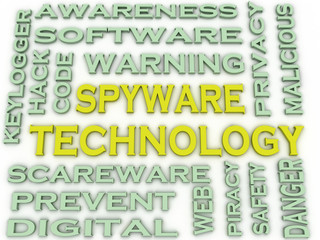 3d image Spyware Technology  issues concept word cloud backgroun