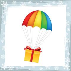 Gift on parachute icon