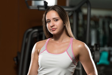 Portrait Of A Young Sporty Woman In Gym
