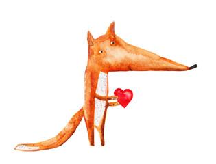 fox. watercolor illustration