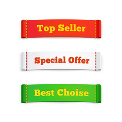 Tags labels or commercial banners on white