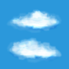 Vector transparent clouds on a blue sky