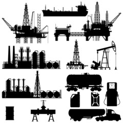 Silhouettes of Oil Industry