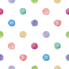 Watercolour polka dot seamless pattern.