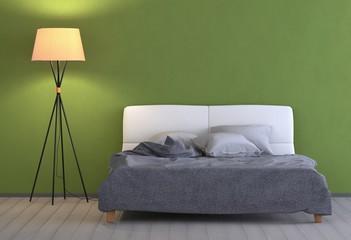 Grünes Schlafzimmer mit Lampe