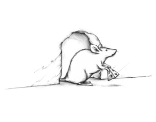 Maus guckt aus ihrem Mäuseloch