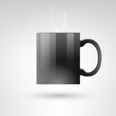 Hot black cup with handle isolated on white vector illustration