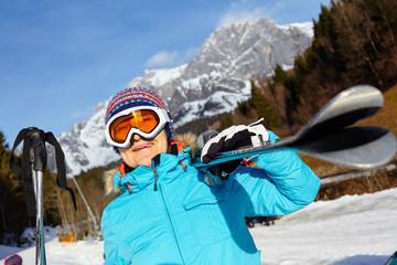 Senior skier woman