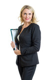 Smiling business woman holding clipboard isolated over white