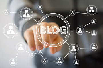 Businessman hand press web blog button icon