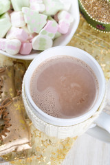 festive hot chocolate and marshmallows