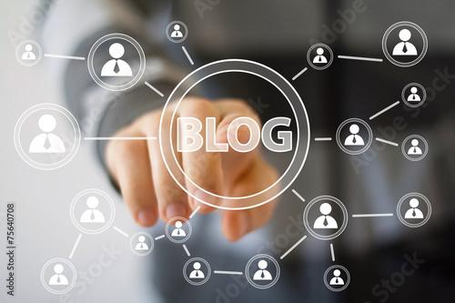 Businessman hand press web blog button icon - 75640708