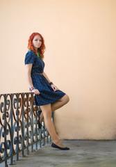 Portrait of a beautiful redhead girl. Soft focus on eyes.