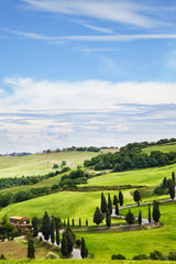Beautiful landscape of Tuscany with the twisting road