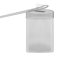 Transparent cylindrical box for goods at the hook