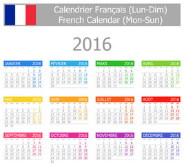 2016 French Type-1 Calendar Mon-Sun
