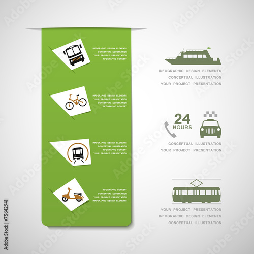 Urban transportation infographic elements - 75642941
