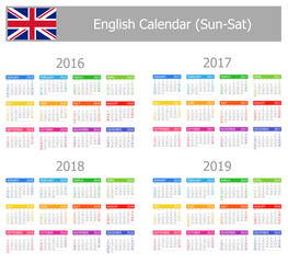 2016-2019 Type-1 English Calendar Sun-Sat