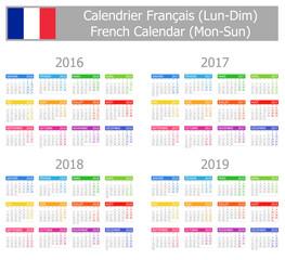2016-2019 Type-1 French Calendar Mon-Sun