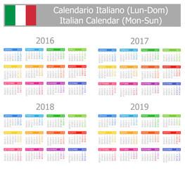 2016-2019 Type-1 Italian Calendar Mon-Sun