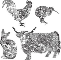 animals in ethnic ornaments