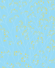Vector seamless floral pattern, blue and yellow colors.