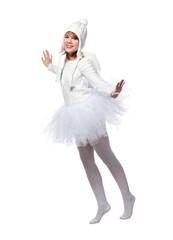 Teenage girl in costume of white angel