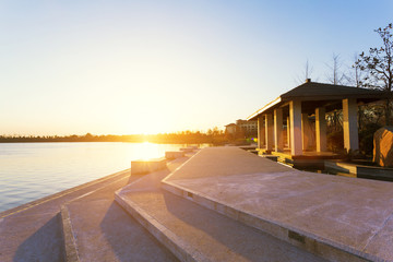 sunset skyline near resort lakeside