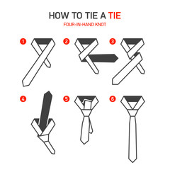 How to tie a tie instruction, Four-In-Hand knot