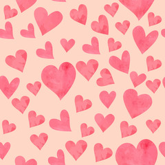 Seamless texture pattern with funny pink watercolor hearts.