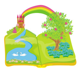 Open book - beautiful princess in the garden