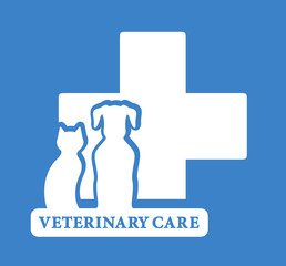 veterinary care icon with white pet