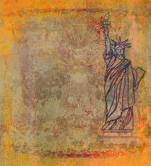 Retro design with Statue of Liberty