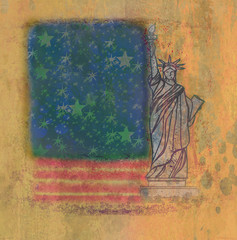 Grunge illustration of the american flag with the Statue of Libe