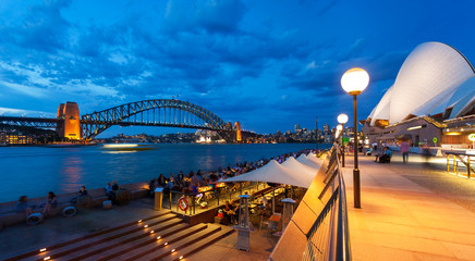 View of Sydney Harbour Bridge at dusk