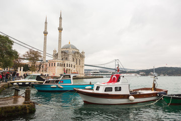 Ortakoy Mosque and Bosphorus Bridge in Istanbul at Dusk, Turkey