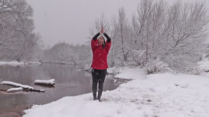 Sun Salutation Yoga Pose in the Snow