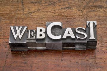webcast word in metal type