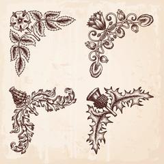 Hand Drawn Design Elements Corners Vintage