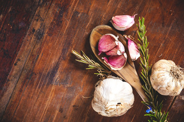 Garlic on a rustic wooden table