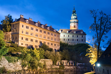 Castle of Cesky Krumlov by night, Bohemia, Czech Republic