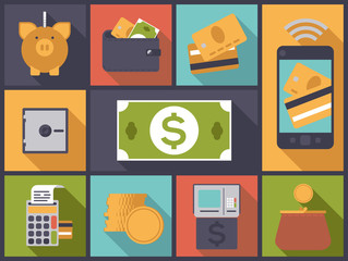 Personal Finance flat design icons vector illustration