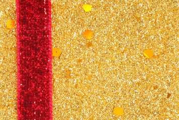 golden glitter with ribbon background