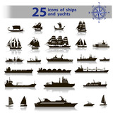 25 icons of ships and yachts - 75647784