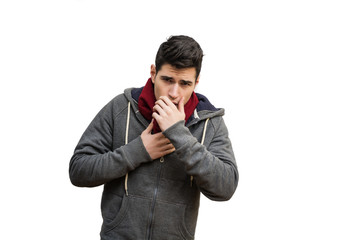 Young man sick with flu or cold, coughing